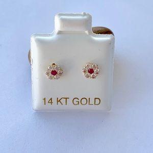 Real 14k Gold Earrings Stud Red White Flower CZ